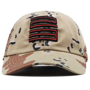 the supreme desert jordan 5 matching 23 dad hat has a red and black jordan 23 logo embroidered on the front