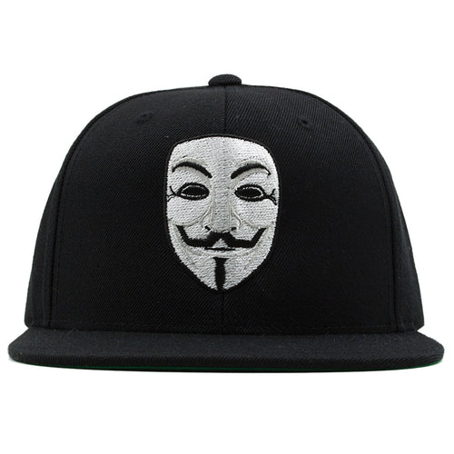on the front of the anonymous guy fawkes v for vendetta mask snapback hat, the anonymous mask is embroidered in white and black