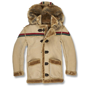 The mocha gucci colorway inspired faux fur shearling jacket has vegan fur lined pockets wrist with green and red stripes running across the chest and shoulders