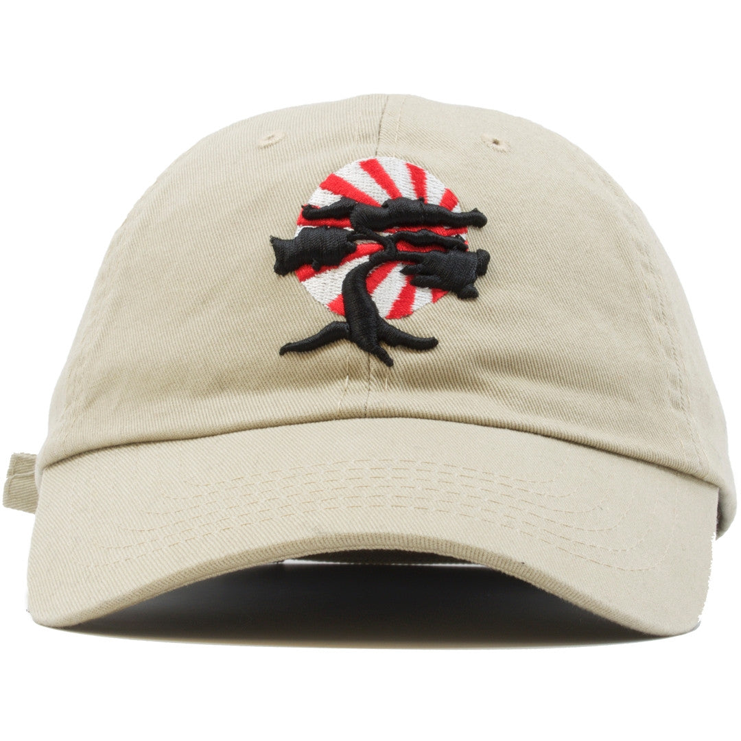 5b289329ffc Foot Clan Bonsai Tree Dad Hat is khaki with a black bonsai tree on the front