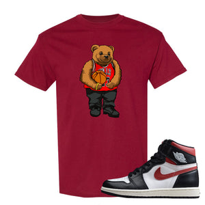 Air Jordan 1 Retro High Gym Red Sneaker Hook Up Polo Bear With Jersey Cardinal Red T-Shirt