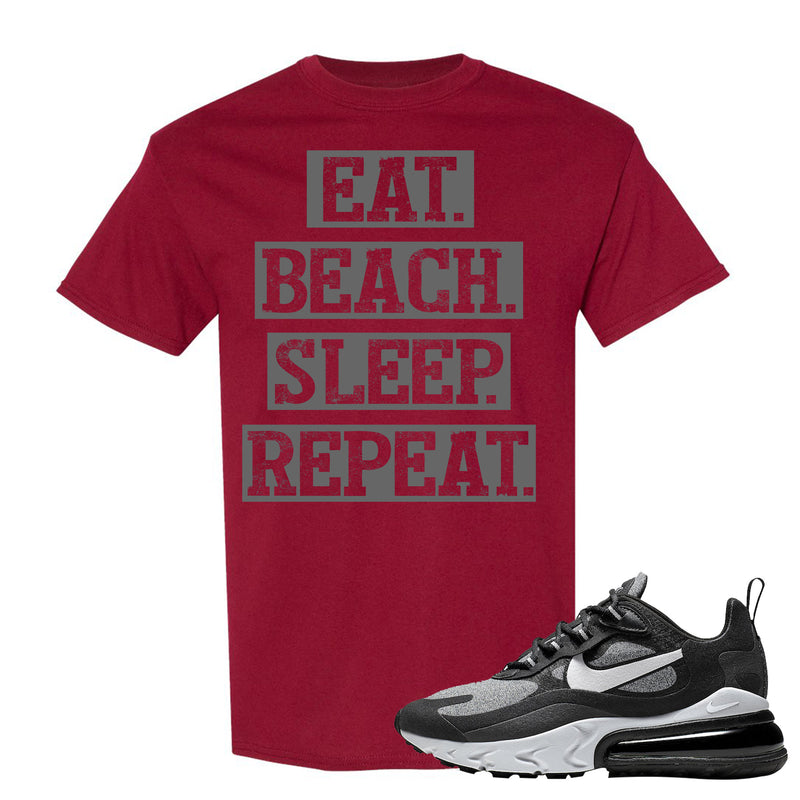 Nike WMNS Air Max 270 React Optical Sneaker Hook Up Eat Beach Sleep Repeat Garnet T-Shirt