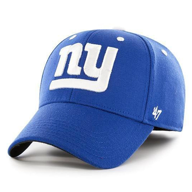 embroidered on the front of the new york giants royal blue stretch fit cap from '47 brand is the new york giants logo in solid white