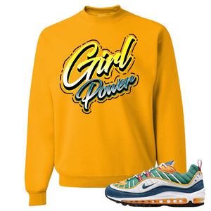 Nike WMNS Air Max 98 Multicolor Sneaker Hook Up Girl Power Gold Yellow Sweater