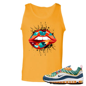 Nike WMNS Air Max 98 Multicolor Sneaker Hook Up Lips Geometric Design Gold Yellow Mens Tank Top