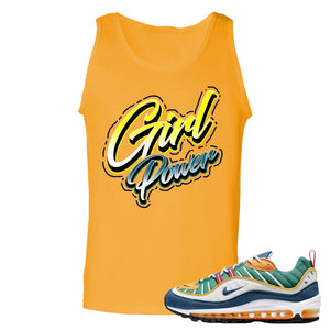 Nike WMNS Air Max 98 Multicolor Sneaker Hook Up Girl Power Gold Yellow Mens Tank Top