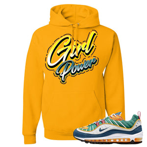 Nike WMNS Air Max 98 Multicolor Sneaker Hook Up Girl Power Gold Yellow Hoodie