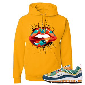Nike WMNS Air Max 98 Multicolor Sneaker Hook Up Lips Geometric Design Gold Yellow Hoodie