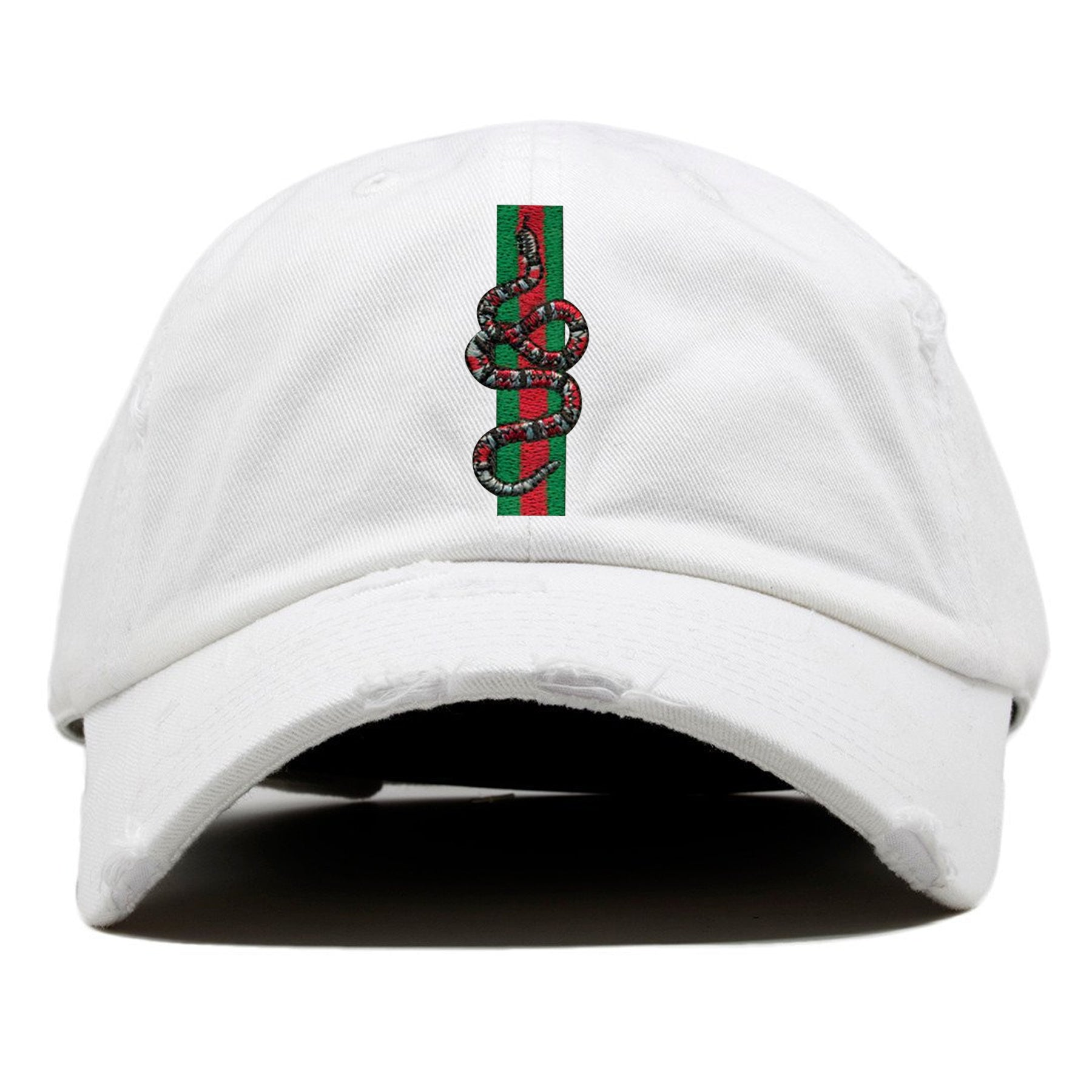 on the front of the gucci italian fashion snake dad hat are 3 stripes  embroidered in 4a7c19c6aad