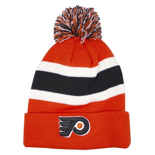 An Orange Knit of the Philadelphia Flyers Breakaway Cuff is shown to have a pom with Flyers colors in it, orange, black, and white. The base around the hat is in stripes of black and white. The Philadelphia Flyers logo is shown on the cuff of the beanie.