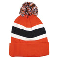 The back side of this beanie is shown the black and white stripe of this Philadelphia Flyers Cuff Breakaway Knit Beanie. The Pom is shown with the Flyers color; black, orange, and white.