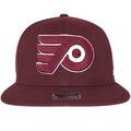 Large Maroon and white logo of the Philadelphia Flyers is shown on a maroon structured snapback of this Philadelphia Flyers No Shot Maroon Snapback.