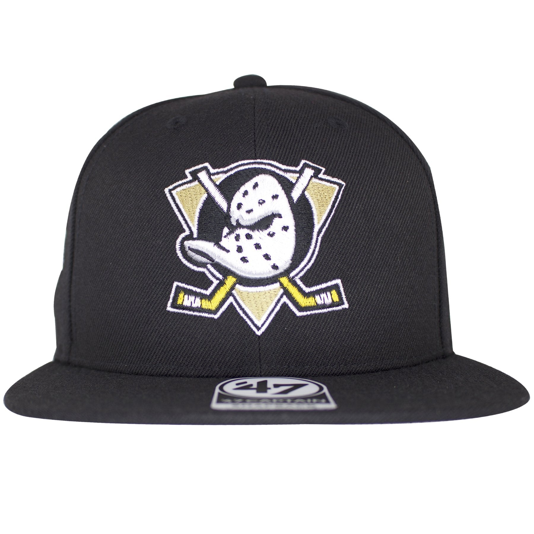 this anaheim mighty ducks snapback hat has the mighty ducks symbol on the front of a