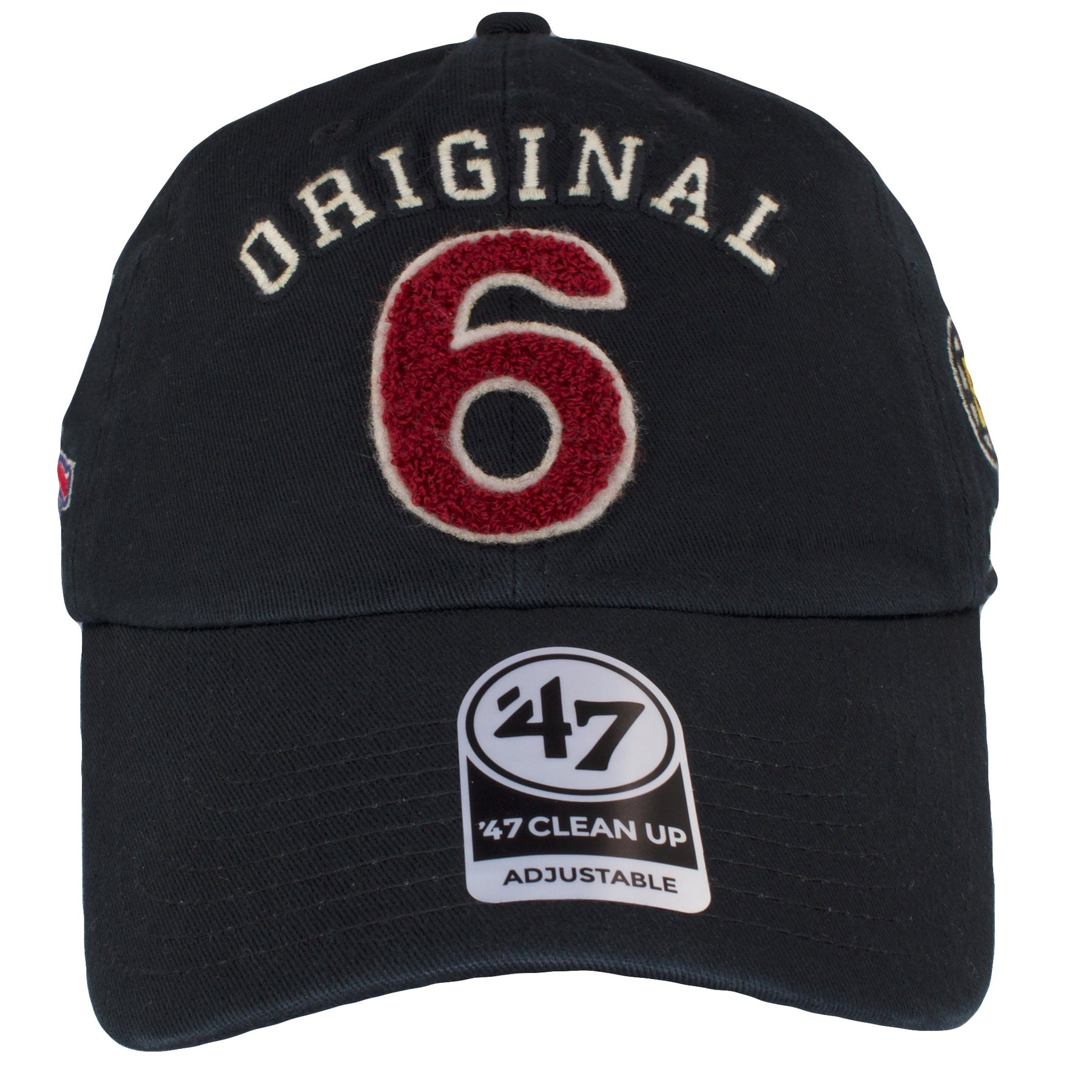 wholesale dealer c6372 08058 on the front of the black original six dad hat is the original 6 lettering  in