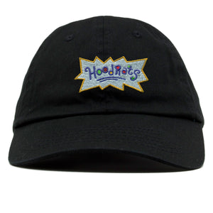 on the front of the hood rats dad hat, the rugrats inspired hoodrats logo is embroidered