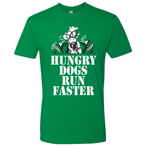 "on the front of the hungry dogs run faster jason kelce super bowl parade t-shirt is an image of jason kelce in a mummers outfit with the saying ""hungry dogs run faster"" printed in white"
