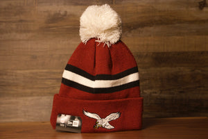 Eagles Beanie | Philadelphia Eagles Throwback Phillies Colorway Beanie the front of this beanie is a maroon color way with the eagles retro bird on the front cuff