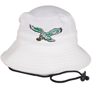 The vintage Philadelphia Eagles bird logo is embroidered on the front of this Philadelphia Eagles white bucket hat.