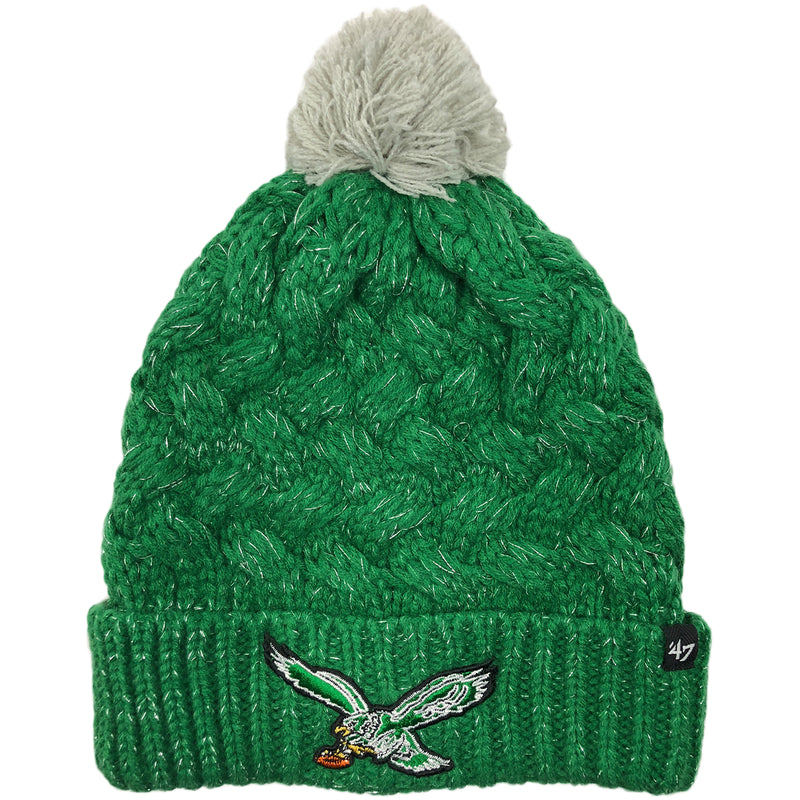 The women s throwback kelly green Philadelphia Eagles knit pom beanie is  kelly green and silver with 0ea61ad1e