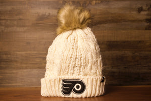 Flyers beanie Womens | Philadelphia flyers woman beanie | Cable knit with fluffy pom this womens flyers beanie is perfect for the winter time