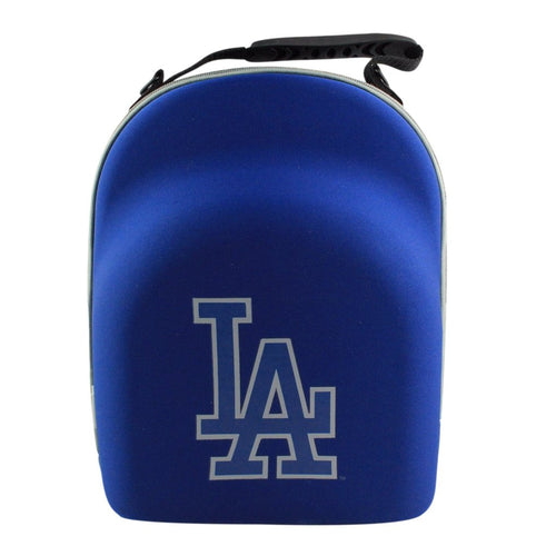 the los angeles dodgers 6 piece cap carrier is royal blue with a blue and gray reflective los angeles dodgers logo printe don the cover