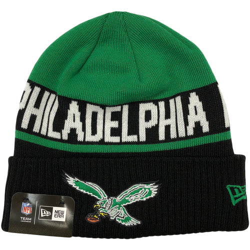 on the front of the Philadelphia Eagles throwback logo kelly green raised cuff beanie is the throwback Eagles logo embroidered in kelly green, white, black, brown, and yellow