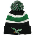 The retro Philadelphia Eagles throwback bird striped kelly green beanie has the old-school Philadelphia Eagles logo embroidered on the front in kelly green