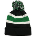 The pom on top of the retro Philadelphia Eagles throwback '47 brand striped pom knit beanie is kelly green, white, and black