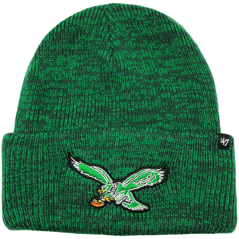 The throwback kelly green raised cuff winter knit beanie is heather kelly green with the retro Philadelphia Eagles logo embroidered in kelly green, white, black, brown, and yellow