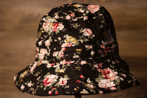 Kids floral Bucket hat | Youth size floral boonie hat kids size | blanks for embroidery the front of this bucket hat has a floral print
