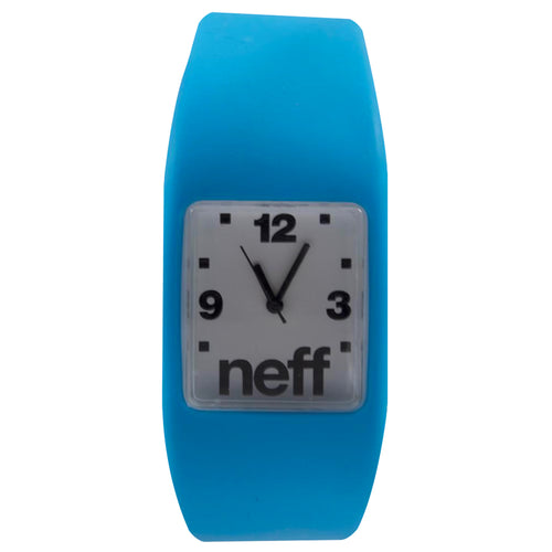 on the front of the blue rubbe one size watch is a white watch face with black lettering and black watch hands