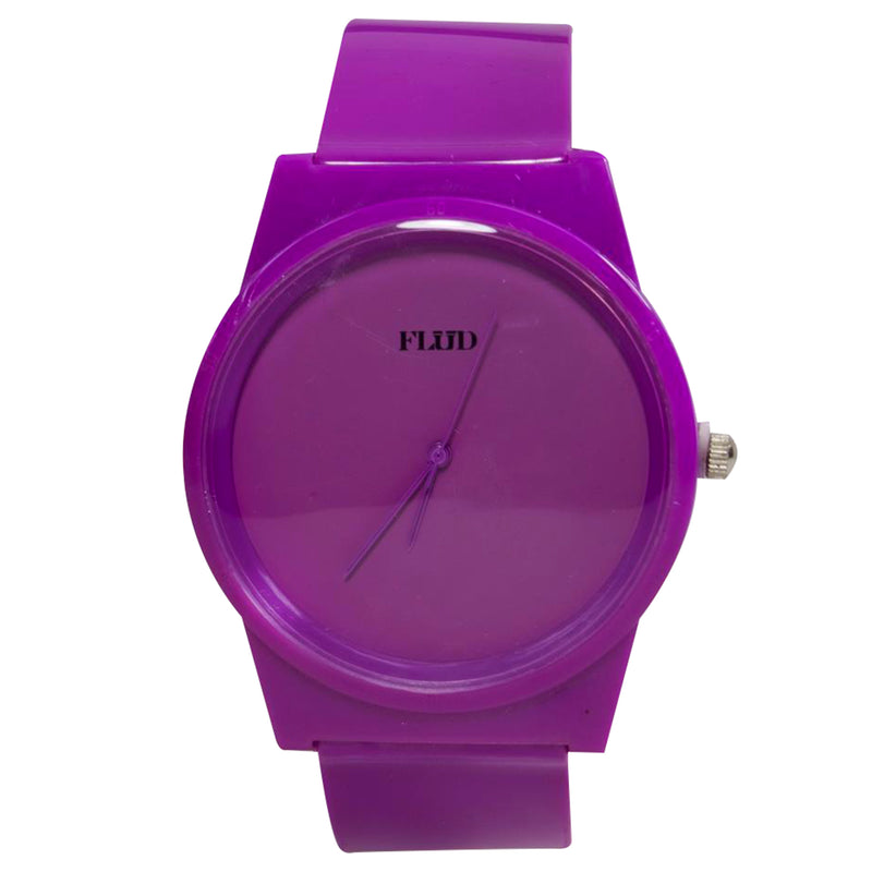 the purple tonal flud watch is solid purple with the word FLUD in black