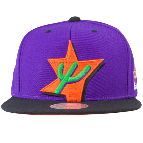 on the front of the 1995 nba all astar weekend snapback hat is the 1996 nba all star weekend logo embroidered in orange, green, and black