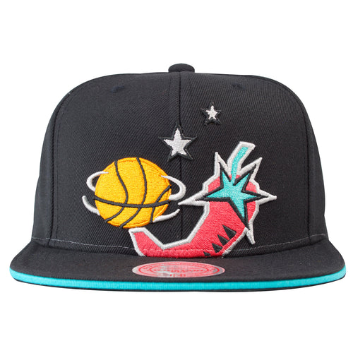 on the front of the black 1996 NBA All Star Weekend vintage black snapback hat is the 96 All Star logo embroidered in orange, black, white, pink and teal
