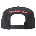 on the back of the 1996 NBA All Star Weekend vintage snapback hat is the Mitchell and Ness logo embroidered in pink above a black snap