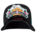 The under brim of the 1996 All Star Weekend solid black snapback hat has the All Star Weekend logo applied to the under brim