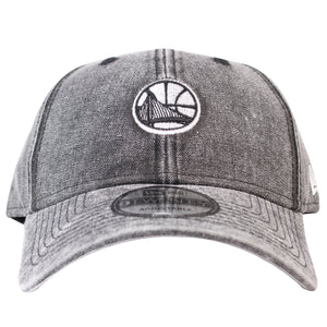 on the front of the black denim golden state warriors 2018 nba all-star weekend dad hat is the golden state warriors logo embroidered in black and white