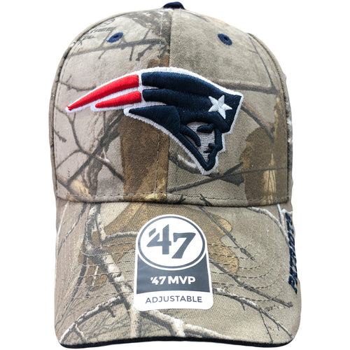 On the front of the New England Patriots realtree dad hat is the New England Patriots logo embroidered in navy blue, gray, red, and awhite