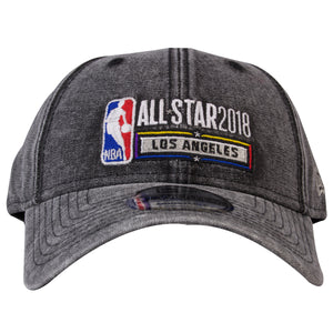 on the front of the nba 2018 all-star game black denim dad hat is the all star 2018 nba logo embroidered in white, red, blue and yellow