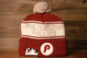 Phillies Beanie | Philadelphia Phillies Vintage Cooperstown Cardinal Red Beanie | OSFM the front of this phillies beanie is a retro logo on the cuff and the philadelphia phillies wording on the top with white grey and red