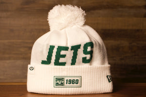 Jets Beanie | New York Jets 2019 On Field White Beanie | OSFM this jets beanie is white with the jets logo on the top and the year the jets were founded on the cuff