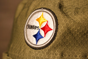 Steelers Bucket Hat | Pitsburgh Steelers 2019 Salute To Service Boonie Bucket Hat | Olive Green | OSFM the front of this beanie has the steelers logo on the top and the rest is olive green