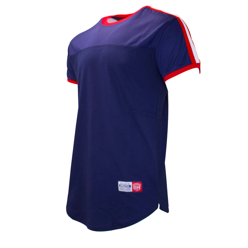 the navy blue polo inspired jersey t-shirt is navy blue with red and white taping on the shoulder