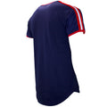 the navy blue t-shirt has red and white taping