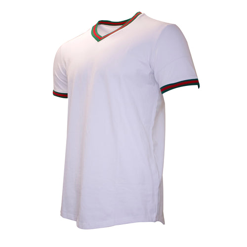 the white v neck t-shirt has a green and red taping on the neck and sleeve