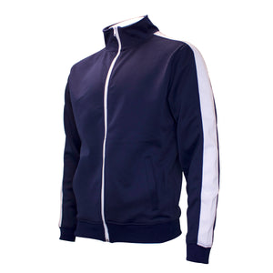 the navy blue and white track jacket is navy blue with a white stripe going down the sleeves and shoulder