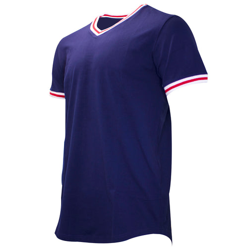 the navy blue v-neck t-shirt has white and red taping on the neck and sleeves