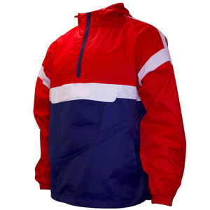 the red and navy blue anorak jacket has a front pouch and white accents