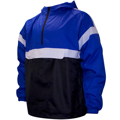 the royal blue and black anorak jacket features a front velcro pouch and a chest zipper