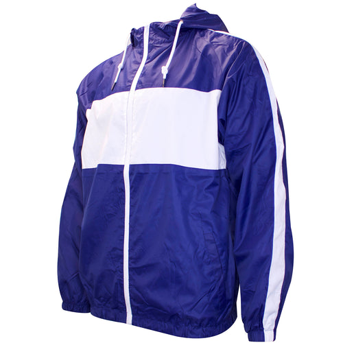 the navy blue and white windbreaker zip-up jacket is solid navy blue with white accents across the chest and sleeves